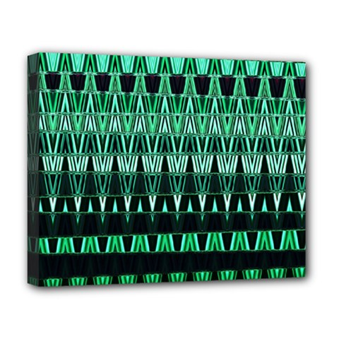 Green Triangle Patterns Deluxe Canvas 20  X 16   by Simbadda