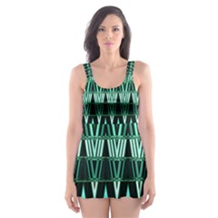 Green Triangle Patterns Skater Dress Swimsuit by Simbadda