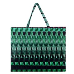 Green Triangle Patterns Zipper Large Tote Bag by Simbadda