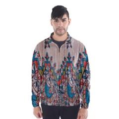 Blue Brown Cloth Design Wind Breaker (men)