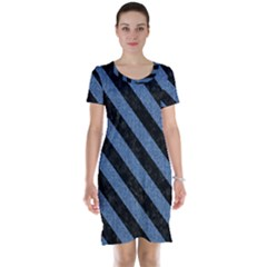 Stripes3 Black Marble & Blue Denim (r) Short Sleeve Nightdress by trendistuff