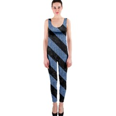 Stripes3 Black Marble & Blue Denim (r) Onepiece Catsuit by trendistuff