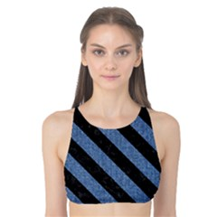 Stripes3 Black Marble & Blue Denim (r) Tank Bikini Top by trendistuff