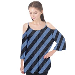 Stripes3 Black Marble & Blue Denim Flutter Sleeve Tee  by trendistuff
