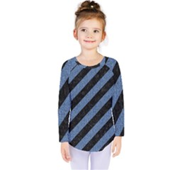 Stripes3 Black Marble & Blue Denim Kids  Long Sleeve Tee by trendistuff