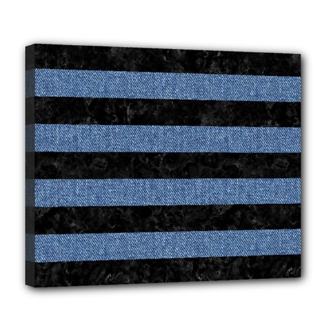 Stripes2 Black Marble & Blue Denim Deluxe Canvas 24  X 20  (stretched) by trendistuff