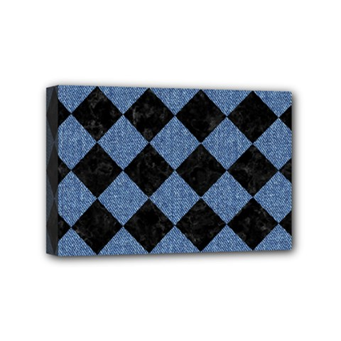 Square2 Black Marble & Blue Denim Mini Canvas 6  X 4  (stretched) by trendistuff
