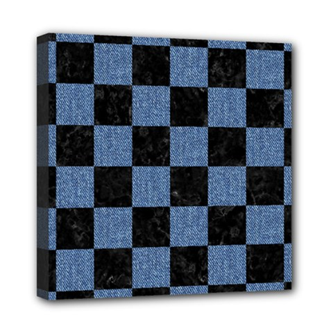 Square1 Black Marble & Blue Denim Mini Canvas 8  X 8  (stretched) by trendistuff