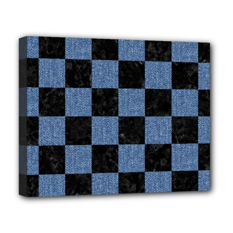 Square1 Black Marble & Blue Denim Deluxe Canvas 20  X 16  (stretched) by trendistuff