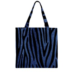 Skin4 Black Marble & Blue Denim Zipper Grocery Tote Bag by trendistuff