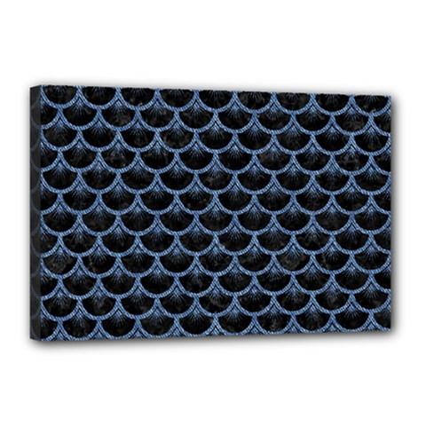 Scales3 Black Marble & Blue Denim Canvas 18  X 12  (stretched) by trendistuff