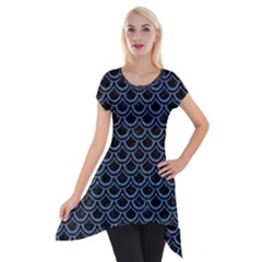 Scales2 Black Marble & Blue Denim Short Sleeve Side Drop Tunic by trendistuff