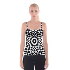 Checkered Black White Tile Mosaic Pattern Spaghetti Strap Top by CrypticFragmentsColors