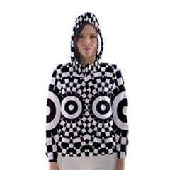 Checkered Black White Tile Mosaic Pattern Hooded Wind Breaker (women) by CrypticFragmentsColors