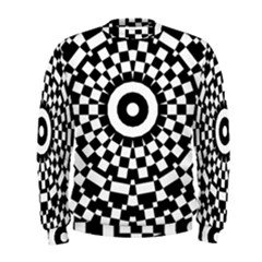 Checkered Black White Tile Mosaic Pattern Men s Sweatshirt by CrypticFragmentsColors