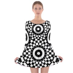 Checkered Black White Tile Mosaic Pattern Long Sleeve Skater Dress by CrypticFragmentsColors