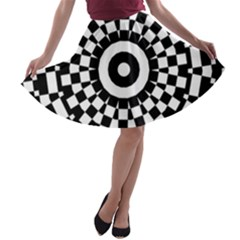 Checkered Black White Tile Mosaic Pattern A Line Skater Skirt by CrypticFragmentsColors