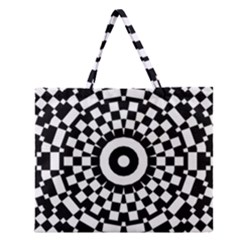 Checkered Black White Tile Mosaic Pattern Zipper Large Tote Bag by CrypticFragmentsColors