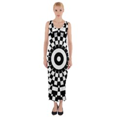 Checkered Black White Tile Mosaic Pattern Fitted Maxi Dress by CrypticFragmentsColors