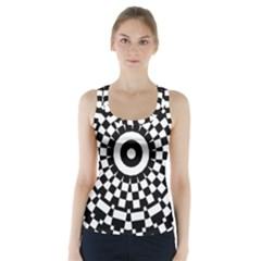 Checkered Black White Tile Mosaic Pattern Racer Back Sports Top by CrypticFragmentsColors