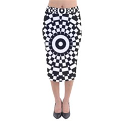 Checkered Black White Tile Mosaic Pattern Velvet Midi Pencil Skirt by CrypticFragmentsColors
