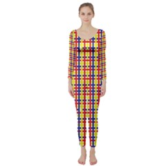 Yellow Blue Red Lines Color Pattern Long Sleeve Catsuit