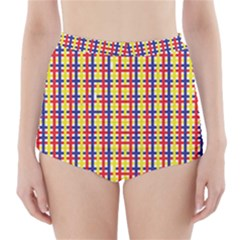 Yellow Blue Red Lines Color Pattern High Waisted Bikini Bottoms