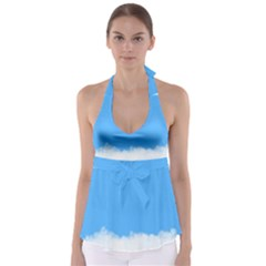 Blue Sky Clouds Day Babydoll Tankini Top by Simbadda