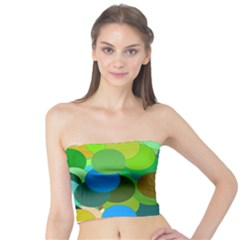 Green Aqua Teal Abstract Circles Tube Top by Simbadda