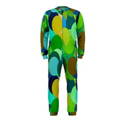 Green Aqua Teal Abstract Circles Onepiece Jumpsuit (kids) by Simbadda