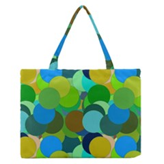 Green Aqua Teal Abstract Circles Medium Zipper Tote Bag by Simbadda