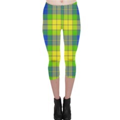 Spring Plaid Yellow Capri Leggings