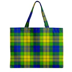 Spring Plaid Yellow Zipper Mini Tote Bag