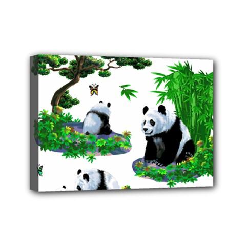 Cute Panda Cartoon Mini Canvas 7  X 5  by Simbadda