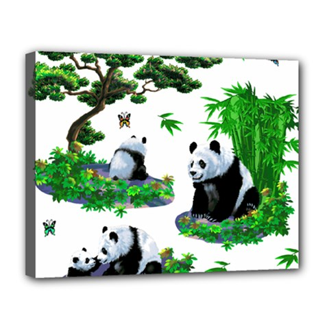 Cute Panda Cartoon Canvas 14  X 11  by Simbadda