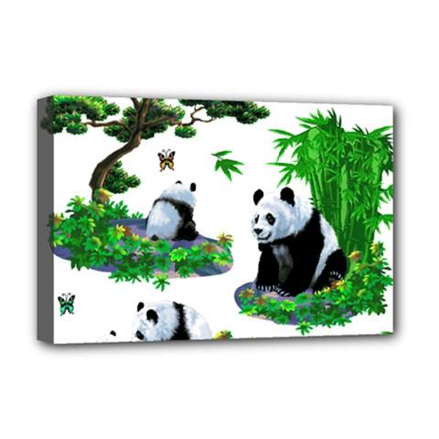 Cute Panda Cartoon Deluxe Canvas 18  X 12   by Simbadda