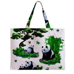 Cute Panda Cartoon Zipper Mini Tote Bag by Simbadda