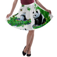Cute Panda Cartoon A Line Skater Skirt by Simbadda