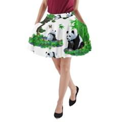 Cute Panda Cartoon A Line Pocket Skirt by Simbadda