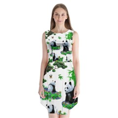 Cute Panda Cartoon Sleeveless Chiffon Dress   by Simbadda