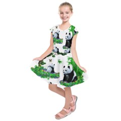 Cute Panda Cartoon Kids  Short Sleeve Dress by Simbadda