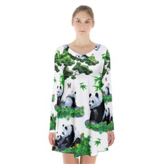 Cute Panda Cartoon Long Sleeve Velvet V Neck Dress by Simbadda