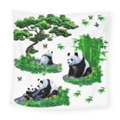 Cute Panda Cartoon Square Tapestry (large) by Simbadda