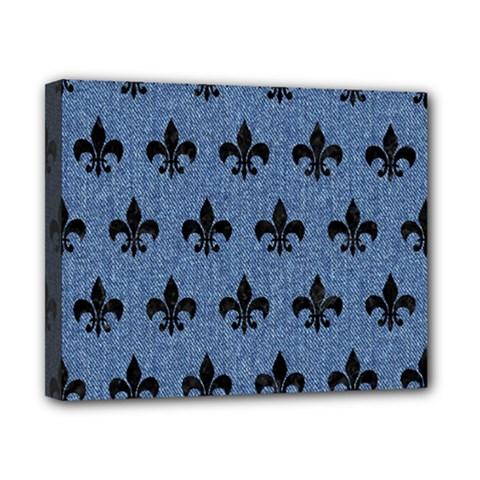 Royal1 Black Marble & Blue Denim Canvas 10  X 8  (stretched) by trendistuff