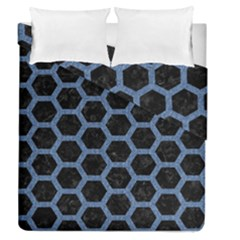Hexagon2 Black Marble & Blue Denim Duvet Cover Double Side (queen Size) by trendistuff