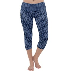 Hexagon1 Black Marble & Blue Denim (r) Capri Yoga Leggings by trendistuff
