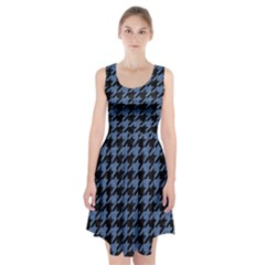 Houndstooth2 Black Marble & Blue Denim Racerback Midi Dress