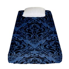 Damask1 Black Marble & Blue Denim (r) Fitted Sheet (single Size) by trendistuff