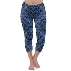 Damask1 Black Marble & Blue Denim (r) Capri Winter Leggings  by trendistuff