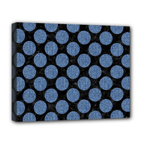 Circles2 Black Marble & Blue Denim Deluxe Canvas 20  X 16  (stretched) by trendistuff